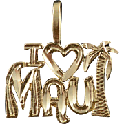 14K I Love Heart Maui Hawaii Word Cut Out Charm/Pendant Yellow Gold