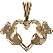 14K Koala Bear Heart Cut Out Australia Australian Charm/Pendant Yellow Gold