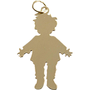 14K Rug Rat Child Boy Girl Engraveable Kid Charm/Pendant Yellow Gold