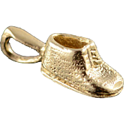 14K Shoe Booty Child's First Baby Newborn Charm/Pendant Yellow Gold