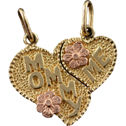 14K Mommy Me Breakable Heart Best Friend Daughter Charm/Pendant Yellow Gold