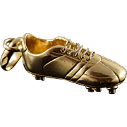 18K Soccer Cleat Shoe Player Charm/Pendant Yellow Gold