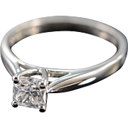 Platinum GGL 0.70 Ct D / VS2 Square Radiant Cut Solitaire Diamond Engagement Ring Size 7