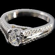 Palladium 0.81 Ct J / VS2 Oval 1.06 Ctw Diamond Engagement Ring