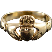 14K Traditional Irish Celtic Claddagh Wedding Ring Size 11 Yellow Gold
