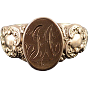 10K Victorian J A Monogram Initial Letter Scroll Ring Size 10 Yellow Gold