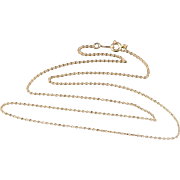 """14K 1.0mm Cable Link Fancy Chain Necklace 17.9"""" Yellow Gold"""