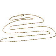 """10K 0.6mm Rolling Cable Link Chain Necklace 17.9"""" Yellow Gold"""