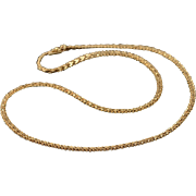 """14K 3.2mm Fancy Weave Link Chain Necklace 18.5"""" Yellow Gold"""