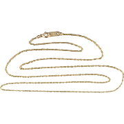 """10K 0.6mm Loose Cable Link Chain Necklace 18.5"""" Yellow Gold"""