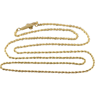 """14K 1.6mm Fancy Rope Link Chain Necklace 20"""" Yellow Gold"""