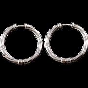 14K 27.4mm Twist Rope Design Hoop Earrings White Gold