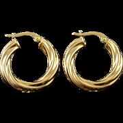 18K 23mm Puffy Twist Hollow Hoop Earrings Yellow Gold