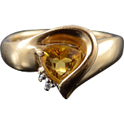 14K 0.62 Ctw Citrine Diamond Trillion Raised Wave Ring Size 4.5 Yellow Gold