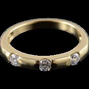 14K 0.36 Ct Cubic Zirconia Three Stone Flush Band Ring Size 7 Yellow Gold