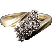 10K 0.15 Ctw Diamond Tiered Cluster Bypass Ring Size 4.5 Yellow Gold