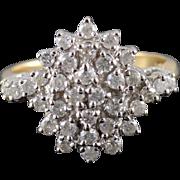 14K 1.05 Ctw Diamond Starburst Cluster Statement Ring Size 8 Yellow Gold