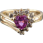 14K Ruby* Diamond Heart Halo Tiered Bypass Ring Size 5 Yellow Gold
