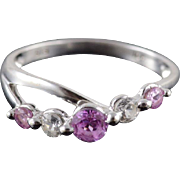 10K Pink White Cubic Zirconia Pressure Wavy Band Ring Size 6.75 White Gold