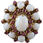 18K 4.22 Ctw Ruby Opal Prong Cluster Cocktail Ring Size 6 Yellow Gold