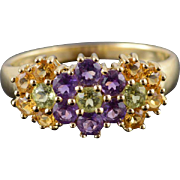 14K Citrine Amethyst Peridot Flower Cluster Ring Size 8 Yellow Gold
