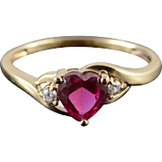 10K Ruby* Cubic Zirconia Heart Wavy Bypass Ring Size 7 Yellow Gold