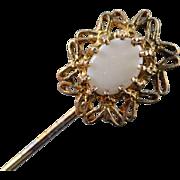 Sterling Silver Vintage Oval Opal Filigree Gold Gild Stick Pin