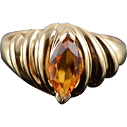 14K Citrine Marquise Pressure Grooved Scalloped Ring Size 7.5 Yellow Gold