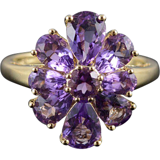 14K 3.00 Ctw Amethyst Pear Tear Flower Cluster Ring Size 7.25 Yellow Gold