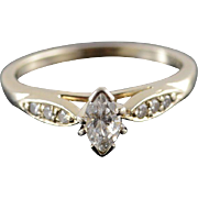 14K 0.45 Ctw Diamond Marquise Channel Engagement Ring Size 6 White Gold
