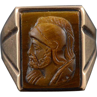 10K Tiger Eye Carved Soldier Cameo Bust Profile Ring Size 6.5 Yellow Gold