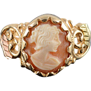 10K Shell Cameo Scalloped Bezel Leaf Scroll Ring Size 8 Yellow Gold