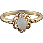 14K Opal Oval Prong Set Rope Milgrain Scallop Halo Ring Size 5.5 Yellow Gold