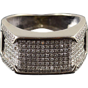 10K 1.64 Ctw Diamond Pave Squared Cluster Band Ring Size 4.5 White Gold
