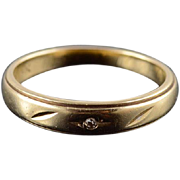 14K Diamond Inset Grooved Wedding Band Ring Size 3.75 Yellow Gold [QPQQ]