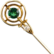 14K Art Deco Green Glass Round Seed Pearl Stick Pin Yellow Gold
