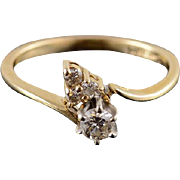 14K 0.21 Ctw Diamond Cluster Engagement Bypass Ring Size 4 Yellow Gold [QPQQ]