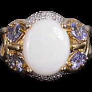 10K Opal Diamond Tanzanite Butterfly Motif Ornate Ring Size 6.25 Yellow Gold