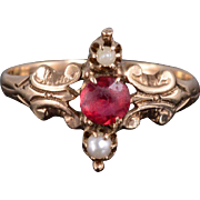 10K Ruby* Cultured Pearl Victorian Scroll Design Ring Size 5.75 Yellow Gold