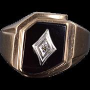 10K Black Onyx Diamond Tiered Bezel Men's Ring Size 13 Yellow Gold