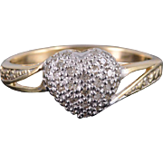 10K 0.30 Ctw Diamond Pave Heart Two Tone Bypass Ring Size 10 Yellow Gold