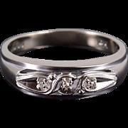 10K Retro Diamond Grooved Men's Wedding Band Ring Size 10.75 White Gold