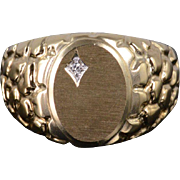 10K Diamond Textured Oval Nugget Men's Band Ring Size 10 Yellow Gold