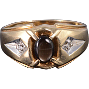 10K Black Star Sapphire Diamond Oval Grooved Men's Ring Size 10 Yellow Gold
