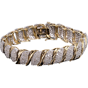 "10K 11.20 Ctw Diamond Pave Cluster Wavy Tennis Bracelet 7"" Yellow Gold"