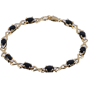"14K 5.05 Ctw Sapphire Diamond Infinity Link Tennis Bracelet 7"" Yellow Gold"