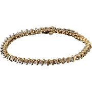 "10K 1.48 Ctw Diamond Wavy Link Tennis Bracelet 7.25"" Yellow Gold"