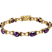 "18K 22.50 Ctw Amethyst Oval Floral Cut Out Link Bracelet 7.25"" Yellow Gold"
