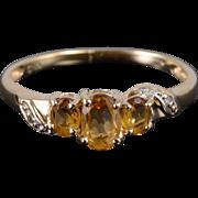 14K 1.00 Ctw Citrine Diamond Three Stone Ring Size 7.25 Yellow Gold