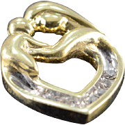 10K 0.12 CTW Mother Holding Child Heart Charm/Pendant Yellow Gold